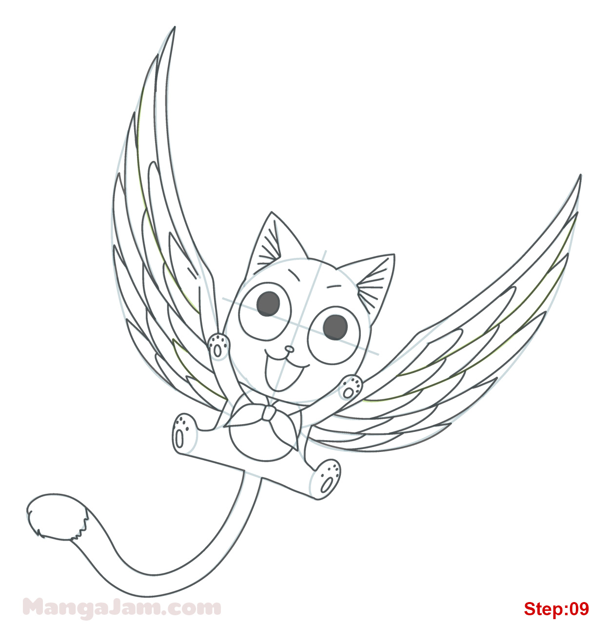 How to Draw Happy with Wings from Fairy Tail   MANGAJAM.com